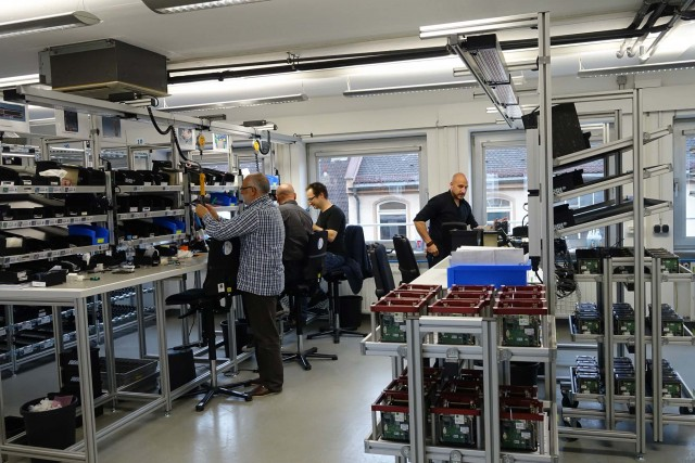 ARRI Alexa Mini camera assembly on Tuerkenstrasse. Christian Wachholz, Head of the camera assembly line, on right.